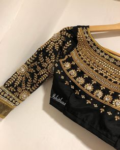 Black bridal blouse from Ishithaa Design House! One of a kind. Beautiful black color designer blouse with floret lata design hand embroidery kundan work. Ping on 9884179863 to book an appointment. 03 August 2018