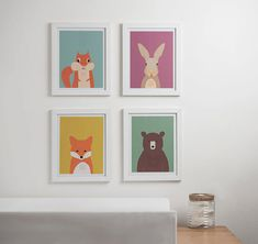Woodland Wall Decor watercolor forest friends nursery, woodland animals, woodland baby