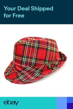 b9e4d08ff35 Adult Mens Red Tartan Trilby Fedora Hat Heisenberg Checked Plaid Fancy Dress