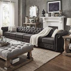 Knightsbridge Dark Grey Linen Oversize Extra Long Tufted Chesterfield Modular Sofa by SIGNAL HILLS