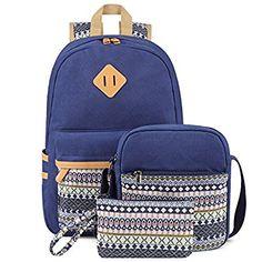 Plambag Leichte Segeltuch Rucksack Set 3 Pcs für Mädchen Jungendliche Damen, Schulrucksack + Schultertasche / Messenger Bag + Mäppchen / Purse (Wasser Grün)