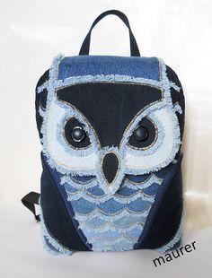 Owl backpack, owl bag, owl sea, kids bag, denim backpack, jeans bag, patchwork…