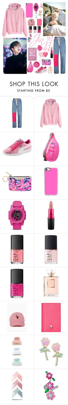 """the guy who likes pink"" by seutepanee ❤ liked on Polyvore featuring Off-White, Puma, Kavu, Lilly Pulitzer, Casetify, Nixon, MAC Cosmetics, NARS Cosmetics, Chanel and Alexander McQueen"
