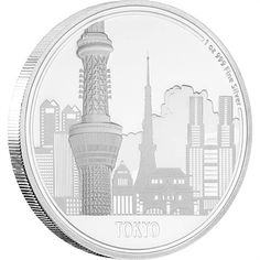 This fabulous 999 fine silver coin highlights the towering Tokyo Skytree, along with other notable buildings within the capital city. Issued by NZ Mint. Tokyo Skytree, Proof Coins, Coin Collecting, Silver Coins, Titanic, City, Collection, Silver Quarters