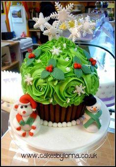 Giant Christmas Cupcake  Cake by Lorna Moodie.