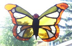 Stained Glass Orange Butterfly Suncatcher by smashingglass on Etsy, $35.00