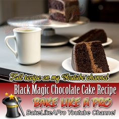 My Black Magic Chocolate Cake Recipe - click the link to see this video recipe on my Youtube channel Magic Chocolate Cake, Best Chocolate, Chocolate Recipes, Chocolate Ganache Glaze, Whipped Ganache, My Recipes, Baking Recipes, Cake Recipes, Cake Videos