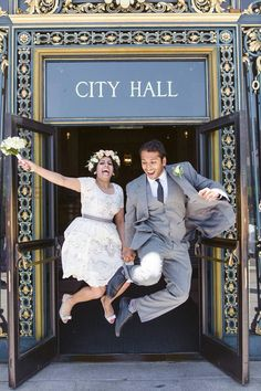a369cd93250 Classic city hall wedding. Peonies. We re married! Jumping picture. Love