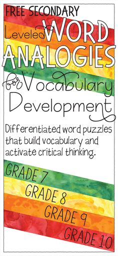 Build vocabulary with these free leveled word analogies for secondary/ middle-school students. Vocabulary Instruction, Teaching Vocabulary, Vocabulary Building, Vocabulary Activities, Teaching Science, Teaching Ideas, Teaching Latin, Academic Vocabulary, Reading Activities