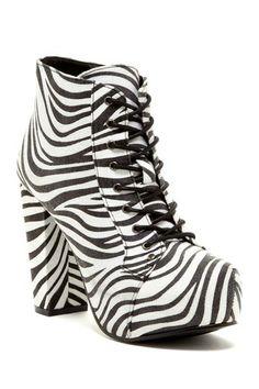 Bucco Verni Wild Zebra Print Lace-Up Bootie