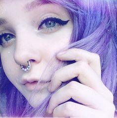 @milkwhore - instagram, purple hair, septum, winged liner, blue eyes, alternative, pastel, emo, scene
