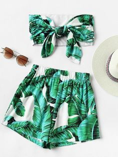 Two-Piece Leaf Print Random Bow Tie Crop Bandeau Top With Shorts