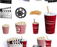Cinema clipart elements vector