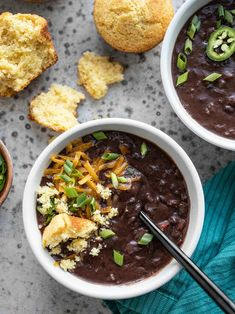 This super fast and easy Smoky Black Bean Soup is rich, filling, flavorful, and waiting to be piled high with fun toppings! An easy vegan weeknight dinner. BudgetBytes.com #blackbeans #vegan