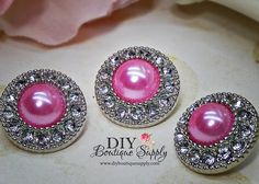 5 Pcs Candy PINK Pearl Rhinestone Buttons by DIYBoutiqueSupply