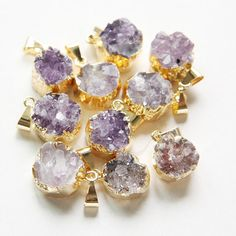 One Piece Natural Hand Cut Raw Brass Framed Amethyst by clbeads