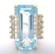 Vintage 7.21ct Fine Emerald Cut Aquamarine & Round Diamond Ring 14K Yellow Gold #Handmade #Cluster