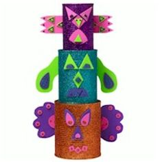 Here is a chance to recycle those tin cans into this fun totem pole and teach young people about Native American Heritage. Trivia: Totem poles are sculptu