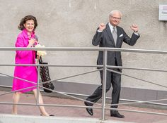 King Carl Gustaf, the proud grandfather, looks almost victorious outside Danderyd Hospital.