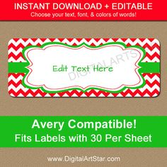 EDITABLE Printable Address Labels DIY Holiday Return Cute Christmas Label Template Modern Gift C4