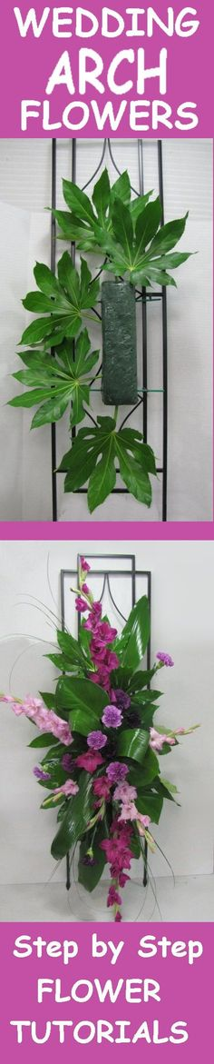 Wedding Arch Flowers - Free Picture Tutorials  Learn how to make bridal bouquets, wedding corsages, groom boutonnieres, church decorations and reception centerpieces.