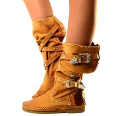 Stivali Indianini Donna Pelle Nabuk Borchiati Nacu 40 Scarpe Made in Italy Boots