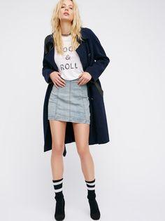 Modern Femme Denim Mini | Denim mini skirt in a super stretchy fit with exposed seam detailing. Zip closure in back.