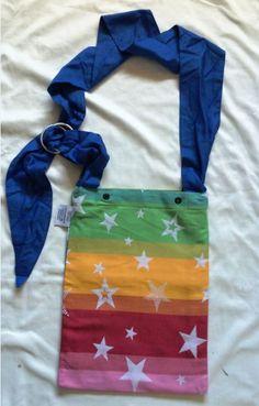 Kokadi rainbow stars wrap bag babywearing bag conversion by MamiMakes on Etsy Rainbow Star, Rainbow Colors, Babywearing, Stars, Sewing, Pouches, Crochet, Totes, Crafts