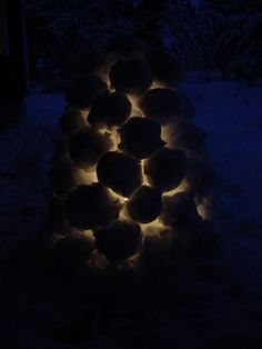 Make a snowball lantern when the first snow falls.