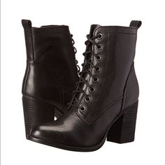 "Black Lace up Booties Black lace up booties with inside zipper closure. Heel is about 3- 3.5 inches.NEW WITHOUT TAGS!! Never worn! These look EXACTLY like STEVE MADDEN ""lauuren"" at a fraction of the price! Candie's Shoes Heeled Boots"