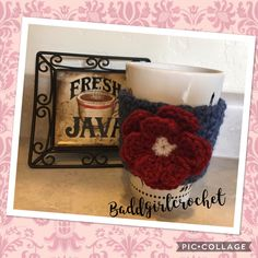 Crochet Flower Coffee Cup Cozy Blue and Red, Mug Cozie, Coffee Cup Cozie by BaddGirlCrochet on Etsy https://www.etsy.com/listing/510224559/crochet-flower-coffee-cup-cozy-blue-and