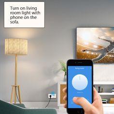 · Presa elettrica con controllo vocale · Controllo vocale: funziona con Amazon Alexa e Google Assistant per il controllo vocale (dispositivo Alexa e dispositivo Google Home venduto separatamente) · Funziona con qualsiasi router WiFi 2.4GHhz senza la necessità di un hub separato o di un servizio di abbonamento a pagamento · Accesso remoto: controlla la tua smart plug ovunque con il tuo tablet o smartphone utilizzando l app gratuita Woox Home · Pianificazione della presa intelligente Living Room Lighting, Room Lights, Hub, Smartphone, Amazon, Google, Riding Habit