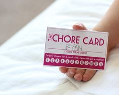 Chore Card- Get 12 punches and trade in for a surprise.  Very creative. Could also be a lesson for the kiddos in responsibility. Loose your card must start over