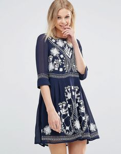 Image 1 of French Connection Embroidered Floral Dress