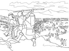 Moses, Hur and Aaron -- Joshua fighting the battle at Rephidim