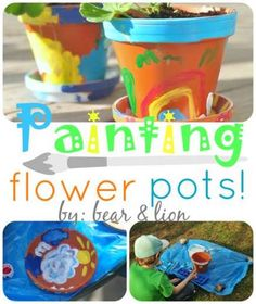 a great craft for kids of all ages and stages! from: bear & lion Painted Plant Pots, Painted Flower Pots, Spring Painting, Painting For Kids, Toddler Crafts, Crafts For Kids, Mothers Day Plants, Terracotta Flower Pots, Flower Pot Crafts