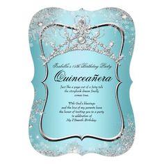 Quinceanera 15th Winter Wonderland Silver Blue Custom Announcement