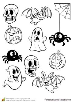 Coloriage legende halloween petits personnages