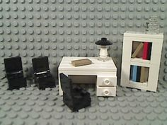 LEGO White OFFICE DESK BOOK SHELF Black Chairs Lamp Library Home Study Den City | eBay