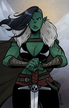 """kassarie-art: """" My entry for the buffbabeszine! They're taking entries now, so if you like writing about/drawing buff lady characters consider submitting something by October Fantasy Character Design, Character Design Inspiration, Character Concept, Character Art, Goblin, Orc Warrior, Fantasy Warrior, Dnd Characters, Fantasy Characters"""