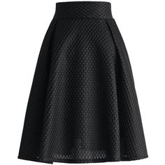 Chicwish Honeycomb Mesh A-line Skirt in Black ($47) ❤ liked on Polyvore featuring skirts, black, black skirt, a line skirt, elastic waist skirt, mesh skirt and black knee length skirt