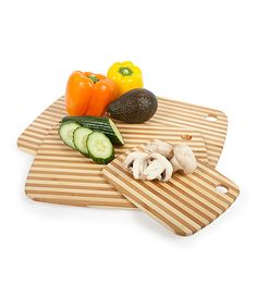 Look at this Core Bamboo Classic Pinstripe Bamboo Cutting Board Set on #zulily today!