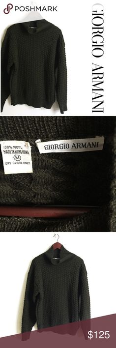 Giorgio Armani Wool Sweater ▫️Giorgio Armani Sweater  ▫️Made in Hong Kong ▫️100% Wool  ▫️Fit: Oversized (see measurements) ▫️Great Preowned Condition Giorgio Armani Sweaters