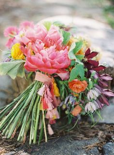 Tassel Wedding Bouquet with bright tropical flowers and pink peonies {Video Tutorial}