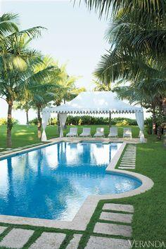 nautical design and organization : #home #exteriors #pool #palmtrees #Veranda #LyfordCay