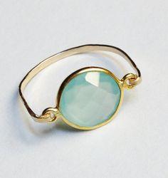 Aqua Gemstone Ring   Aqua Chalcedony Ring   14K by SpiralsandSpice, $39.00
