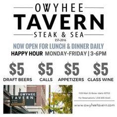 Photo of Owyhee Tavern Steak & Sea - Boise, ID, United States. Happy Hour