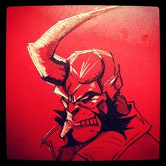 HELLBOY warm-up sketch on red card #drawing #hellboy #sketch