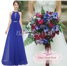 ORLA Royal Cobalt Blue Chiffon Maxi Prom Evening Bridesmaid Dress www.eloises-secret-closet.co.uk
