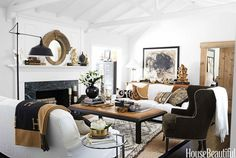 Love a white room accented with brown and camel! Living Room of Pottery Barn and Williams Sonoma VP of branding. Bedford white slipcovered sofas and mohair chair by Williams Sonoma Home. My Living Room, Home And Living, Living Room Decor, Living Spaces, Small Living, Barn Living, California Living, California Homes, Sonoma California